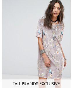 Glamorous Tall | Бархатное Платье Мини С Цветочным Принтом