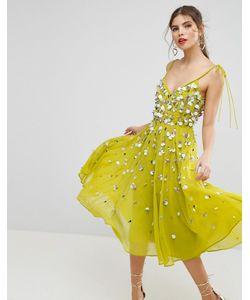 Asos | Платье Миди С Завязками На Плечах И Отделкой