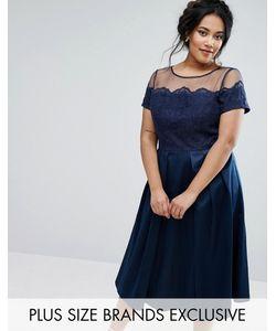 Chi Chi Plus | Платье С Атласной Юбкой И Сетчатым Лифом С Вышивкой Chi Chi