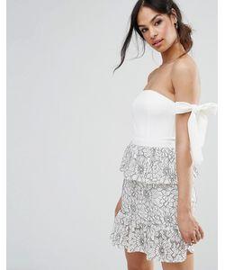 MISSGUIDED | Платье С Завязками На Плечах И Кружевной Баской