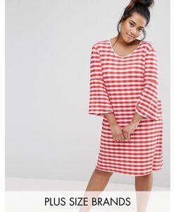 Pink Clove | Клетчатое Платье С Рукавами Клеш