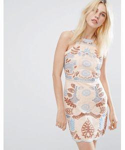 J.O.A | Кружевное Платье С Вырезом