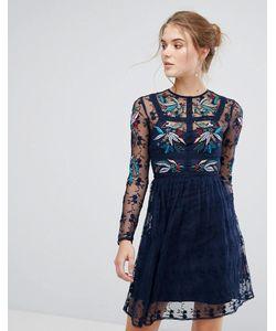 Frock and Frill | Короткое Приталенное Платье С Цветочной Вышивкой И Кружевной Отделкой Frock And