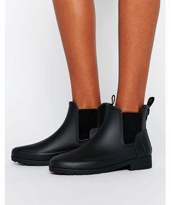 Hunter | Черные Матовые Резиновые Ботинки Челси Original
