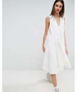 ASOS WHITE | Свободное Платье Миди С Контрастной Отделкой Воротника