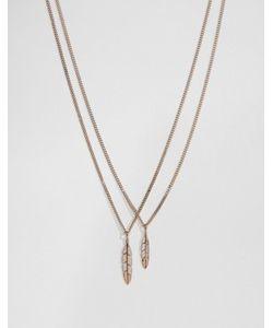 MISTER | Золотисто-Розовое Ожерелье С Перьями