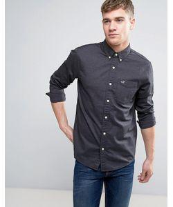 Hollister | Черная Эластичная Оксфордская Рубашка Узкого Кроя С Логотипом