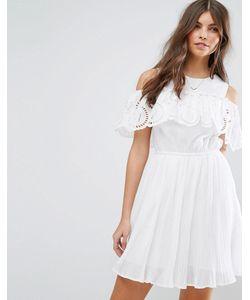 Asos   Плиссированное Платье С Вышивкой Ришелье На Оборке Premium
