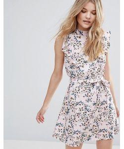 Influence | Короткое Приталенное Платье С Рюшами И Цветочным Принтом