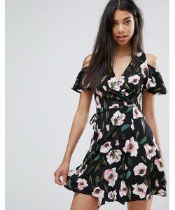 boohoo   Платье С Запахом И Цветочным Принтом
