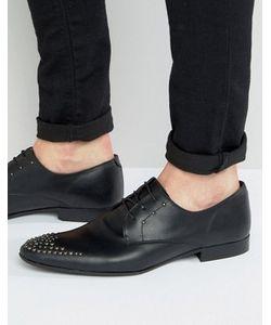 Asos | Черные Кожаные Туфли На Шнуровке С Заклепками