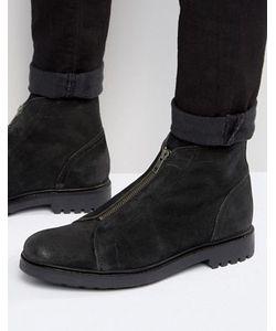 Asos   Черные Замшевые Ботинки На Молнии Спереди
