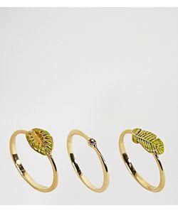 Bill Skinner | Набор Позолоченных Колец С Тропическими Листьями
