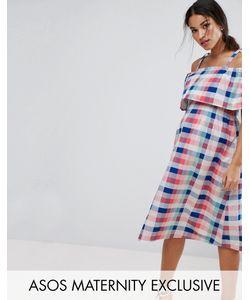 Asos | Платье Миди В Клетку С Открытыми Плечами Maternity