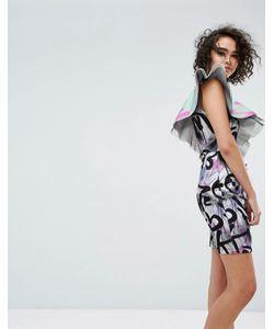 Asos | Платье Мини С Принтом И Оборками X Mtv