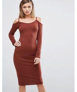 Club L | Платье Миди В Рубчик С Вырезами На Плечах