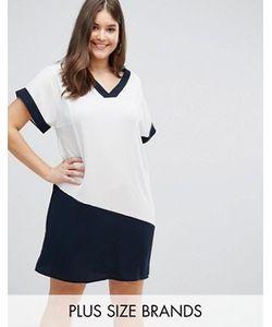 Lovedrobe | Белое Платье С V-Образным Вырезом И Темно-Синими Контрастными Вставками