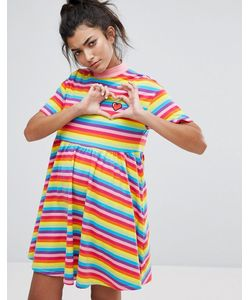 Lazy Oaf | Разноцветное Платье-Футболка Sally