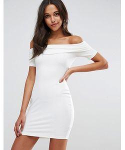 Asos | Сверхмягкое Облегающее Платье Мини С Открытыми Плечами И Широким Отворотом