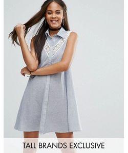 Glamorous Tall   Платье-Рубашка Без Рукавов С Кружевной Вставкой