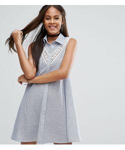 Glamorous Tall | Платье-Рубашка Без Рукавов С Кружевной Вставкой
