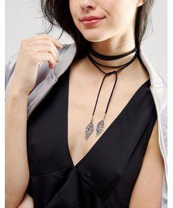 DesignB London   Ожерелье-Чокер С Завязкой И Подвесками-Листиками