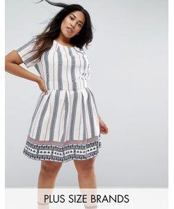 Yumi Plus | Короткое Приталенное Платье В Вертикальную Полоску