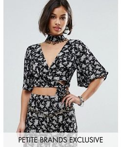 Sisters of the Tribe   Petite Printed Fluted Sleeve Crop Top With