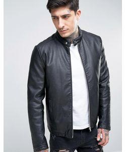 Asos | Черная Байкерская Куртка Из Искусственной Кожи