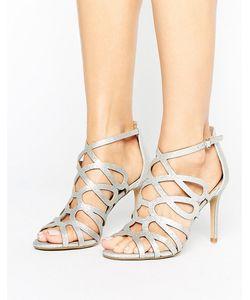 Head Over Heels | Серебристые Решетчатые Босоножки By Dune Mae