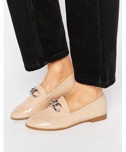 London Rebel   Светло-Бежевые Туфли На Плоской Подошве С Серебристой Цепочкой