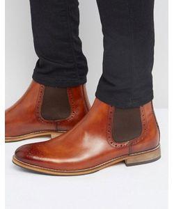 Asos | Коричневые Кожаные Ботинки Челси С Отделкой Под Броги