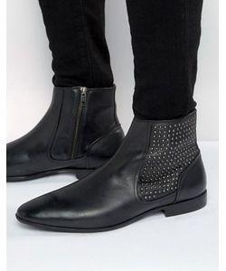 Asos   Черные Кожаные Ботинки Челси С Заклепками