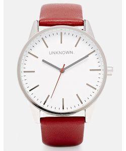 UNKNOWN | Часы С Белым Циферблатом И Бордовым Кожаным Ремешком