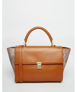 ASOS Collection   Asos Leather Top Handle Tote Bag With Contrast Sides