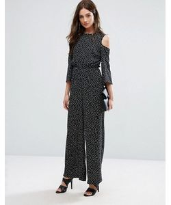 Y.A.S. | Y.A.S Abby Dot Cold Shoulder Jumpsuit