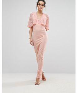 Club L | Платье Макси С Рукавами-Кимоно И Кружевной Отделкой