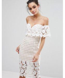 Love Triangle | Платье Миди Из Премиум-Кружева С Открытыми Плечами