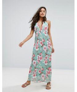 MISSGUIDED   Плиссированное Платье Макси С Глубоким Вырезом И Цветочным Принтом