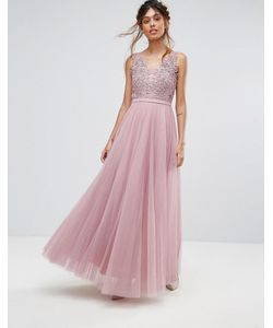 Little Mistress | Платье Макси С V-Образным Вырезом И Цветочной Аппликацией