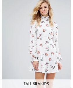 Fashion Union Tall | Короткое Приталенное Платье С Высоким Воротом И Принтом
