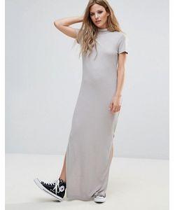 Noisy May | Трикотажное Платье Макси В Рубчик С Высоким Воротником