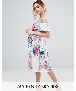 Bluebelle Maternity | Платье С Открытыми Плечами И Тропическим Принтом