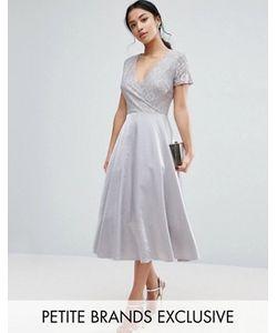True Decadence Petite | Платье Миди Для Выпускного С Кружевным Лифом