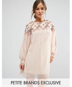 Little Mistress Petite | Цельнокройное Платье Мини С Цветочной Вышивкой