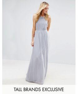 Little Mistress Tall | Плиссированное Платье Макси С Отделкой На Горловине