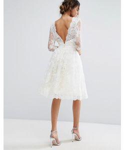 Chi Chi London | Кружевное Платье Миди С V-Образным Вырезом Сзади