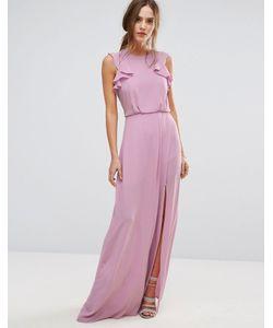 BCBGMAXAZRIA | Сиреневое Платье Макси С Оборками