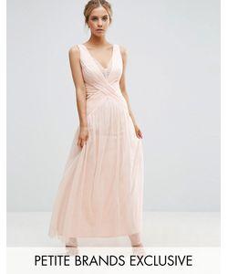 Little Mistress Petite | Платье Макси С Кружевной Отделкой И Складками