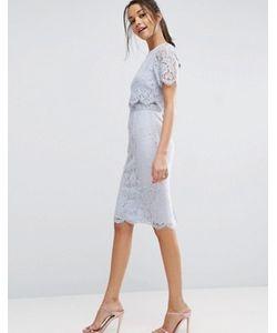 Asos | Кружевное Платье-Футляр Миди С Укороченным Топом
